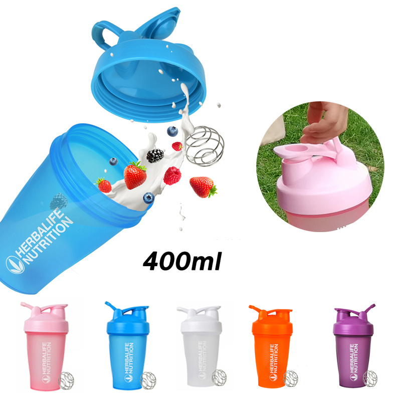 Sports Shaker Bottle 400ML Water Cup Portable Fitness with Scale Large Capacity Plastic Stirring Protein Powder Milkshake Cup image