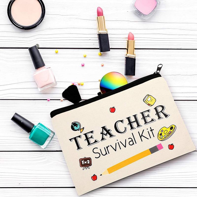 Teacher Survival Kit Makeup Bag Pencil Pouch Preschool Elementary High School Graduation Back To School Teachers' Day Best Gift