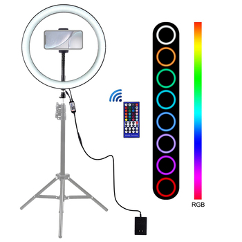 12 inch Photography Ring lamp Remote Control LED Selfie Ring Light for YouTube Video Live Makeup Camera Light With Phone Holder
