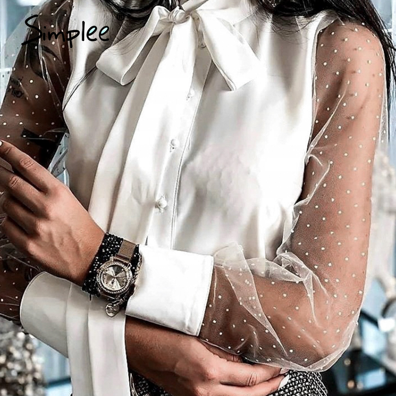 Simplee Vintage Mesh Patchwork Casual Sexy Women Blouse Shirt Bow Tie Blouse Shirts OL Chiffon Highstreet Fashion Blusas Mujer