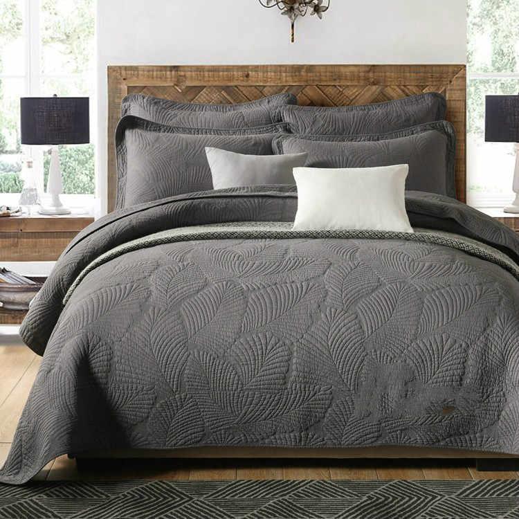 عالية الجودة لحاف من القطن مجموعات غطاء سرير مزدوج ثلاث قطع مجموعة لزيادة المفرش المفرش كامل الملكة الملك