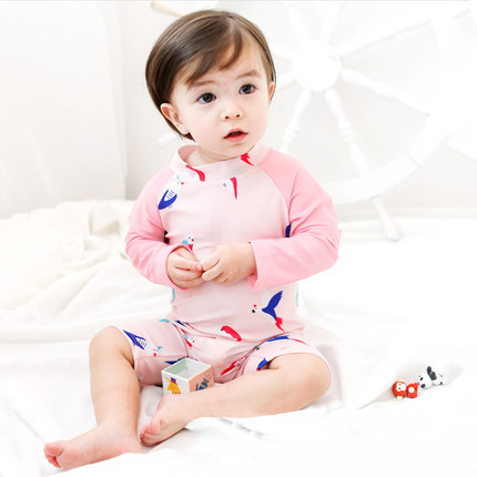 Baby Bathing Suit Children Long Sleeve Girls Sun-resistant Swimwear Kids 0-1-2-3-4-8-Year-Old CHILDREN'S BABY'S Bathing Suit