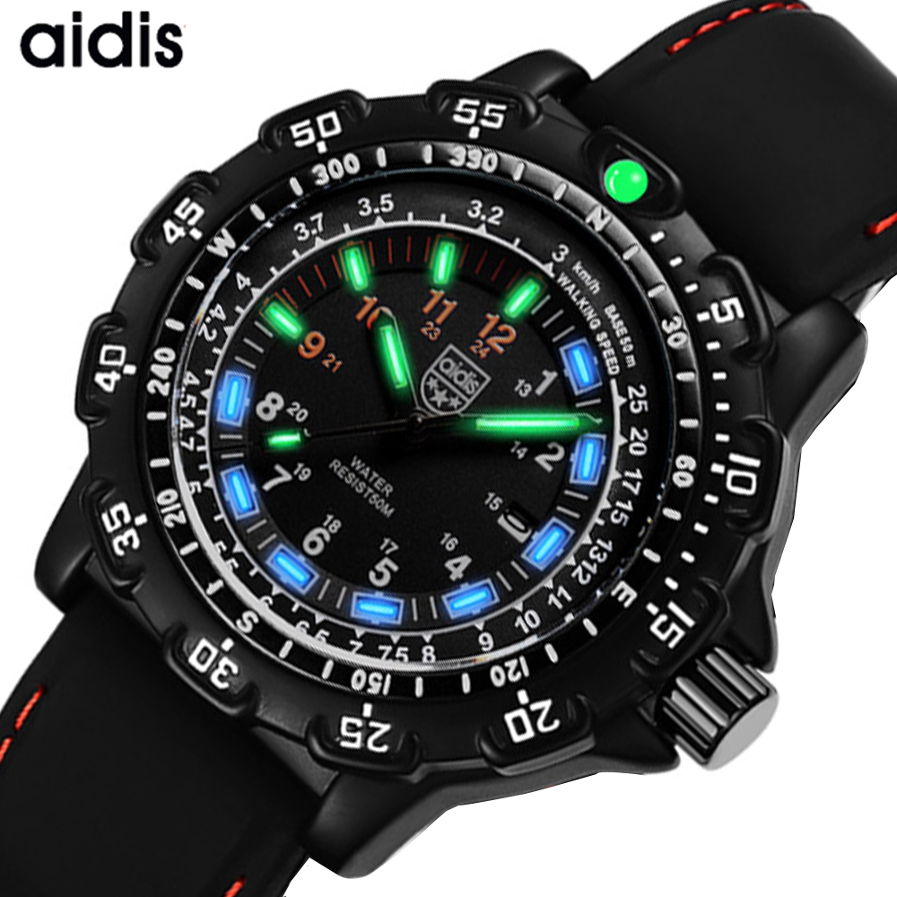 Men Military Watches Top Brand Aidis Casual Sports Waterproof Outdoor Silicone Quartz Watch Men Male Clock Relogios Masculino