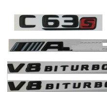 2019 لمعان أسود C63s ل AMG V8 BITURBO جذع شارات شعارات لمرسيدس W205