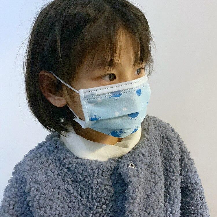 100 шт детские 3 слоя одноразовые маски эластичный рот мягкие дышащие синие мягкие дышащие грипп гигиенические Детские маски для лица