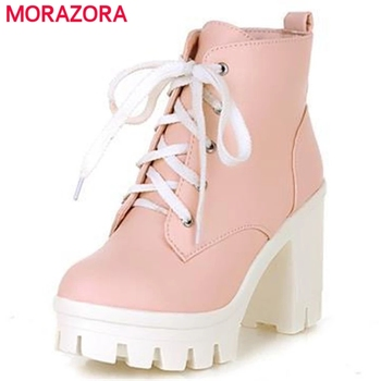 MORAZORA 2020 New Fashion sexy women's ankle boots lace up high heels Punk platform Women autumn winter snow ladies shoes - discount item  50% OFF Women's Shoes