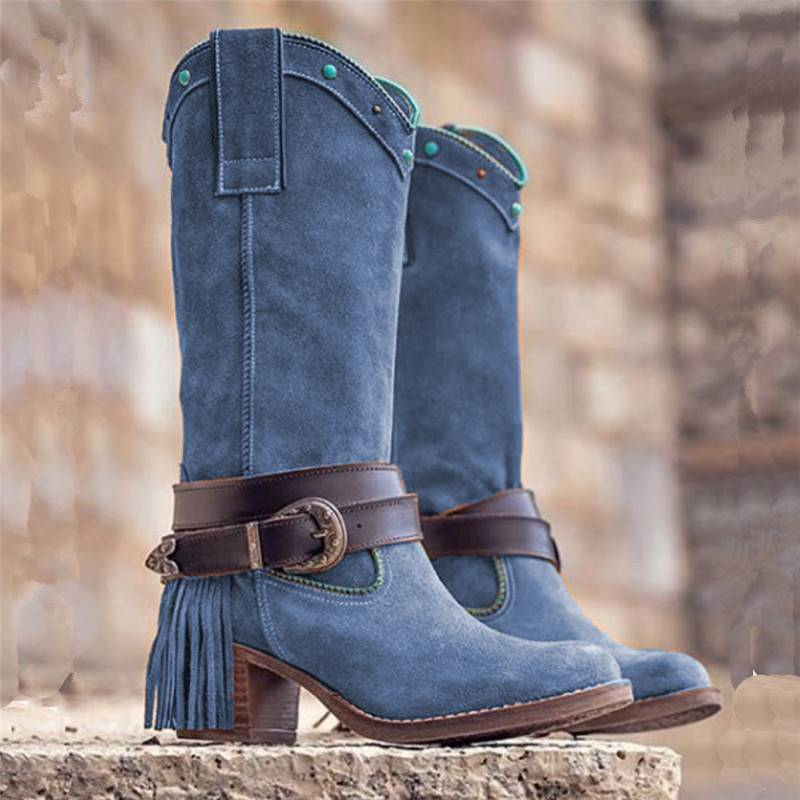Women Boots  PU Leather Slip on Retro Casual Womans Booties Gladiator Low Heel Shoes Ladies Fashion Botas Mujer Invierno TW636