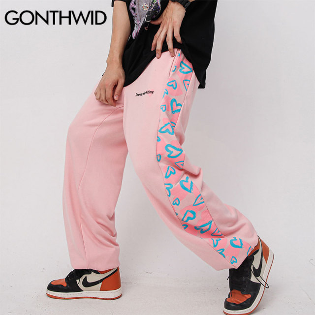 Harem Sweatpants Hip Hop Side Hearts Print Baggy Pants Streetwear Harajuku Fashion Casual Loose Men Trousers
