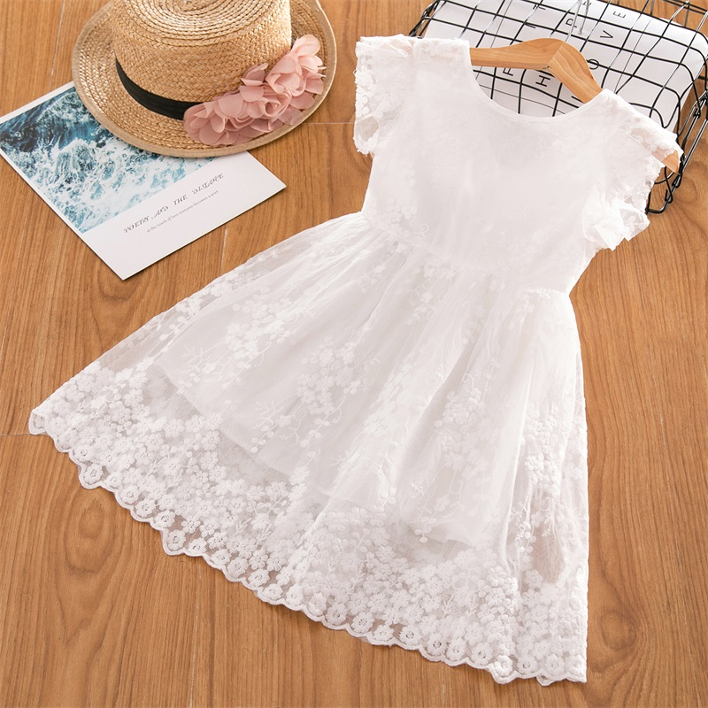H07dae5e1e6c34d57bc94e51f79e4a2c36 Girls Dress 2019 New Summer Brand Girls Clothes Lace And Ball Design Baby Girls Dress Party Dress For 3-8 Years Infant Dresses