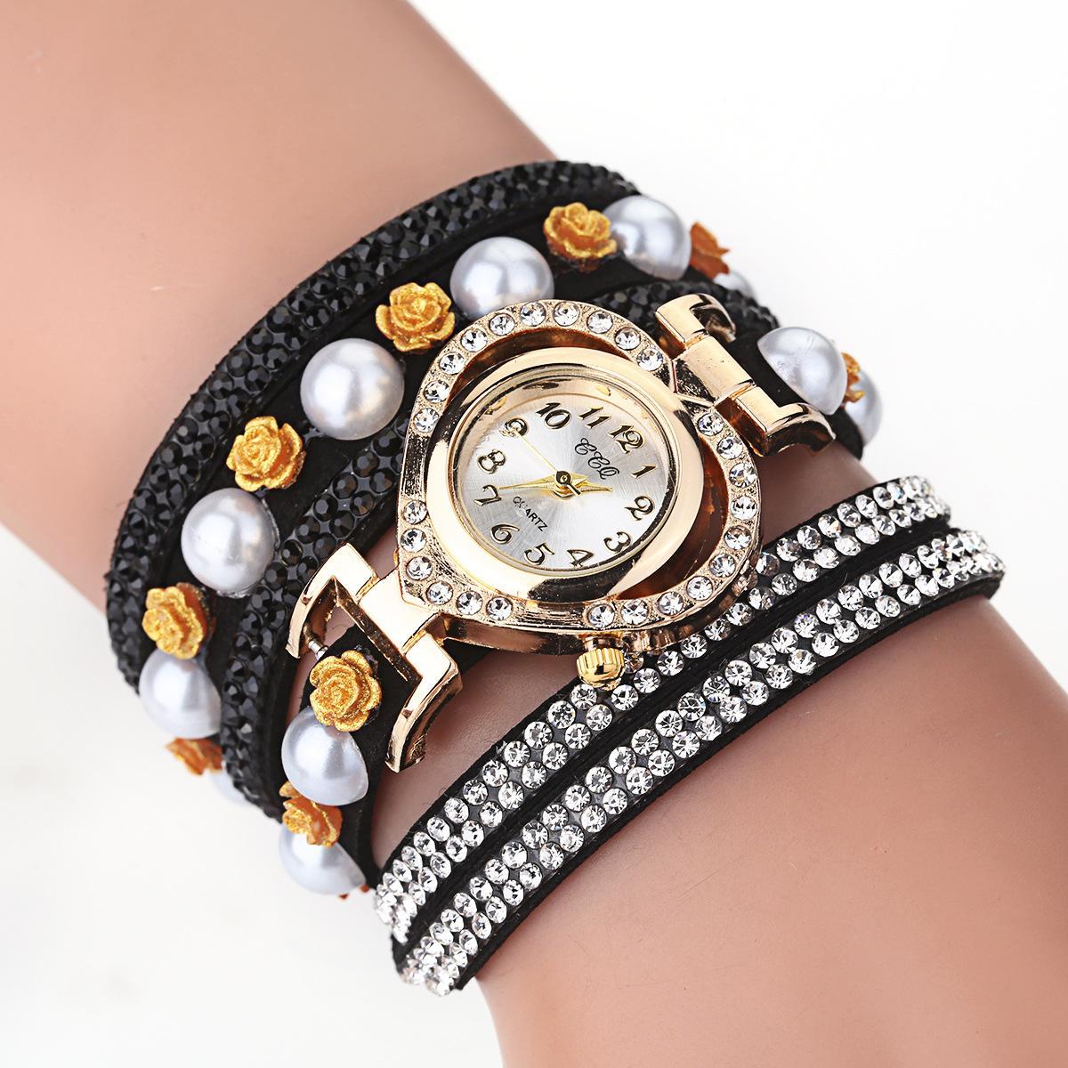Fashion 2020 Women Dress Quartz Wrist Watch Luxury Gold Rhinestone Bracelet Heart-shaped Design Clock Ladies Elegant Reloj Mujer