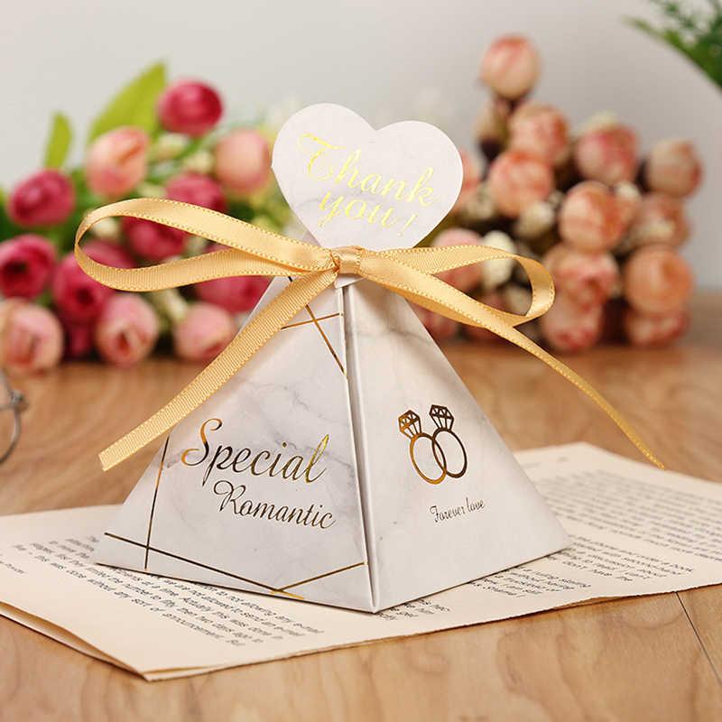 Dreieckige Pyramide Marmor Candy Box Hochzeit Gefälligkeiten und Geschenke Boxen Schokolade Box für Gäste Giveaways Boxen Party Supplies