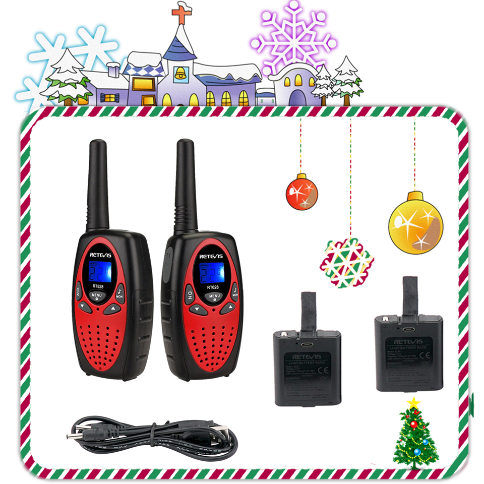 Retevis RT628 Rechargeable Kids Walkie Talkie 2pcs PMR446 PMR FRS VOX Mini Two Way Radio Christmas Gift New Year Present