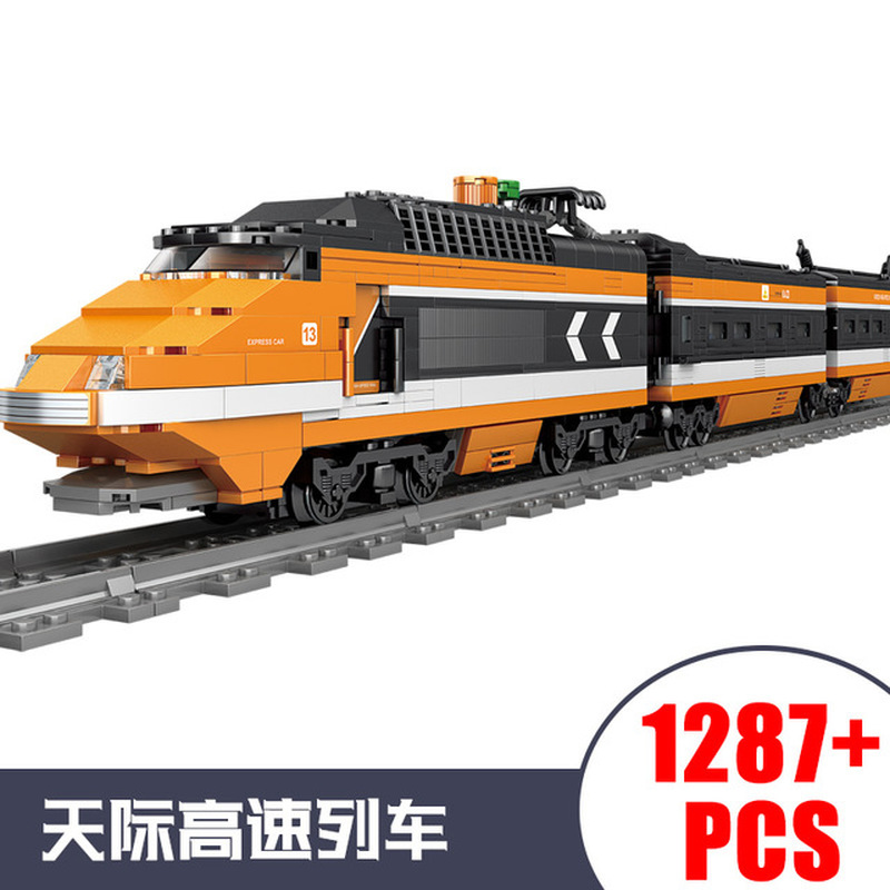 KAZI City Train Power Function Technic Building Block Bricks DIY Tech Toys For Children Leduo Brand Christmas Gift