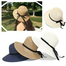Foldable Hat Straw-Hat Panama-Block Brim Sun-Protection Wide Women Summer Feminino Big