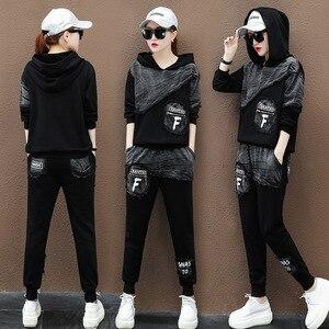 Image 4 - Max LuLu sonbahar 2019 moda kore Streetwear bayanlar üstler ve pantolonlar kadın iki parçalı Set Denim kıyafetler Vintage kapşonlu eşofman