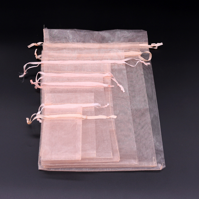 100 Pcs/lot champagne color Drawstring Organza Bag small Pouches Jewelry Package Bags Christmas Wedding Packaging Gift Bags 3