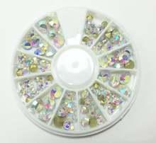 3 колеса разноцветные Стразы для ногтей прозрачные смешанные