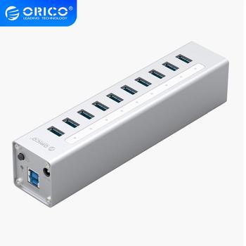 ORICO אלומיניום 10 יציאות רב USB3.0 רכזת ממשק במהירות גבוהה 5Gbps ספליטר עבור מחשב מחשב נייד מחשב 12V כוח מתאם כסף