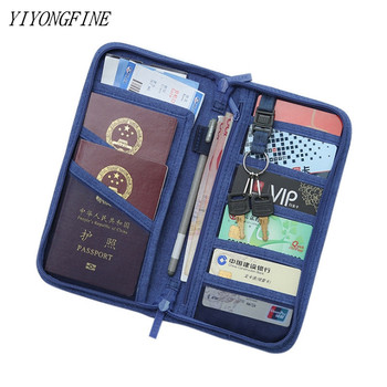 passport bag leather anti theft travel wallet multi function zipper ultra thin ticket holder document bag YIYONGFINE Travel Journey Document Organizer Wallet Passport ID Card Holder Ticket Credit Card Bag Case Travel Accessories