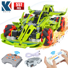 KAIYU City Remote Control 360° Rotating Drift Racing Car Bricks Technical Sports Car RC vehicle Building Blocks Toys for boys