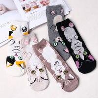 Femmes chat Animal motif chaussettes fille dessin animé coton courtes chaussettes impression drôle chat femme chaussettes