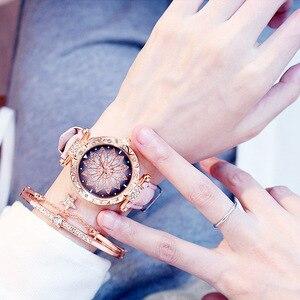 Image 2 - 2019 นาฬิกาผู้หญิงชุดสร้อยข้อมือ Starry Sky สุภาพสตรีสร้อยข้อมือนาฬิกาหนังนาฬิกาข้อมือนาฬิกาควอตซ์นาฬิกา Relogio Feminino