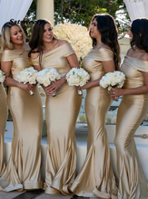 Mermaid Off-the-Shoulder Sweep Train Gold Bridesmaid Dress Custom Maid Of Honor Gowns Cheap