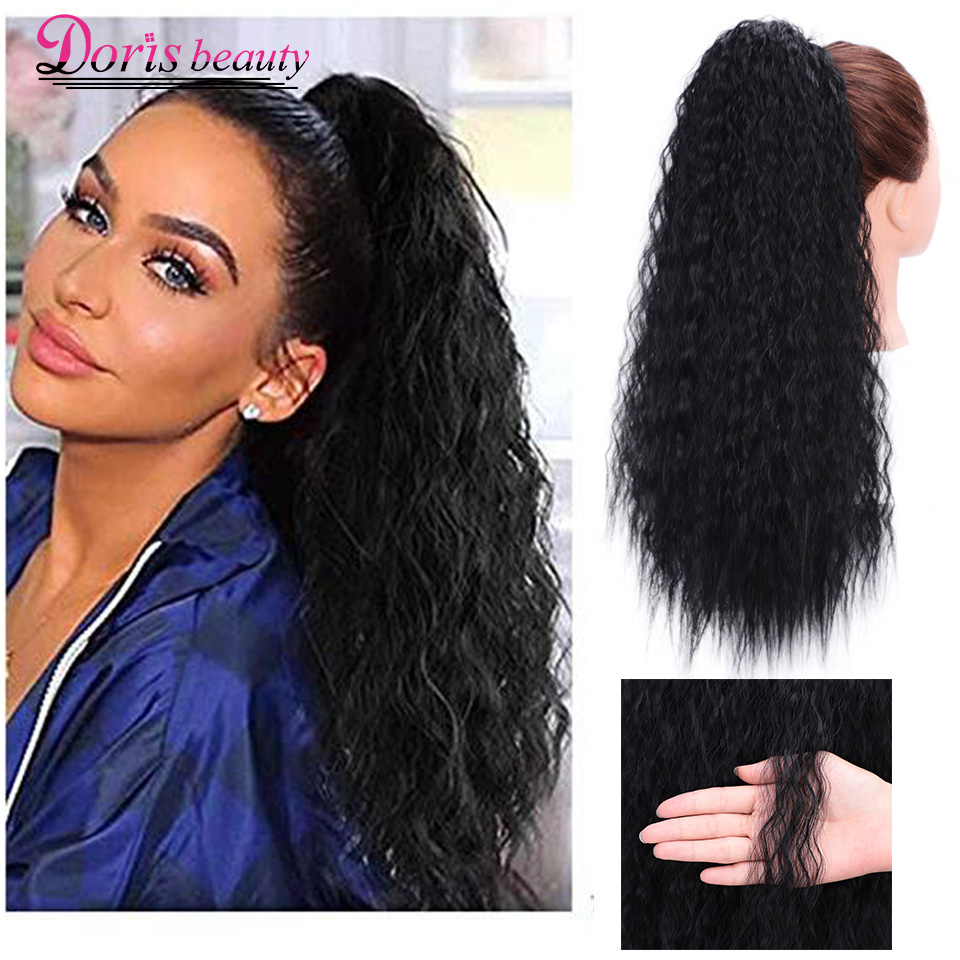 Doris Beauty 22 Inch Long Afro Kinky Curly Ponytail Extension Synthetic Drawstring Corn Hair Piece For Women Black Brown