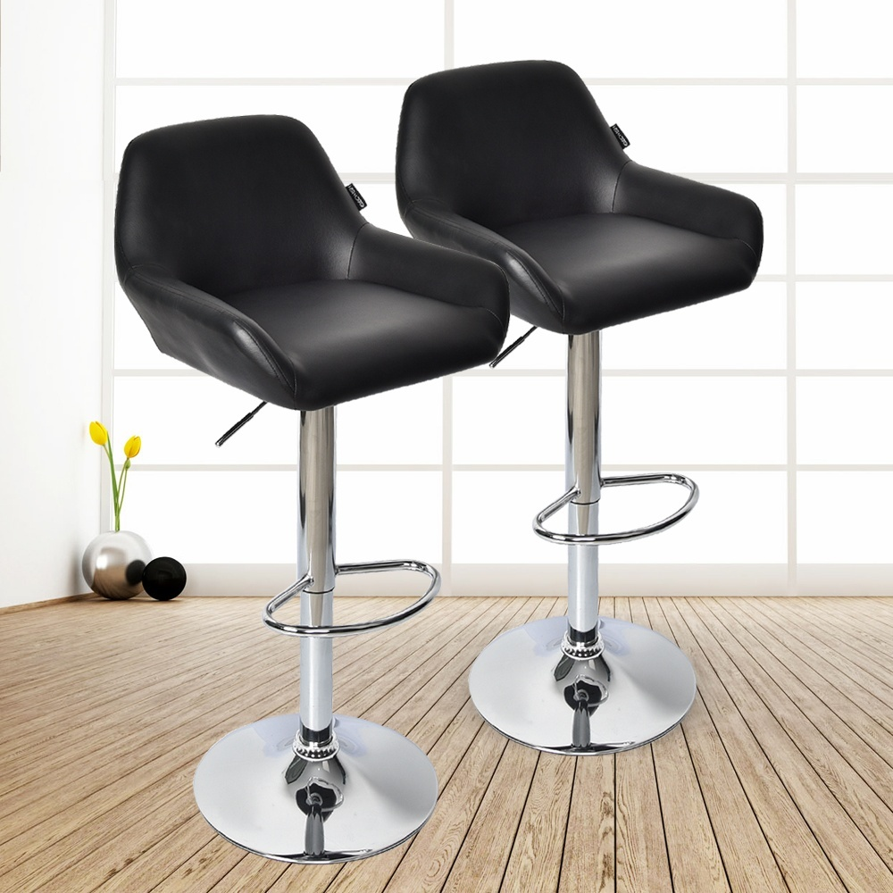 Set Of 2 Adjustable Barstools Counter Height With Arms Pu Leather Pub Kitchen Home Dining Barstools Chairs