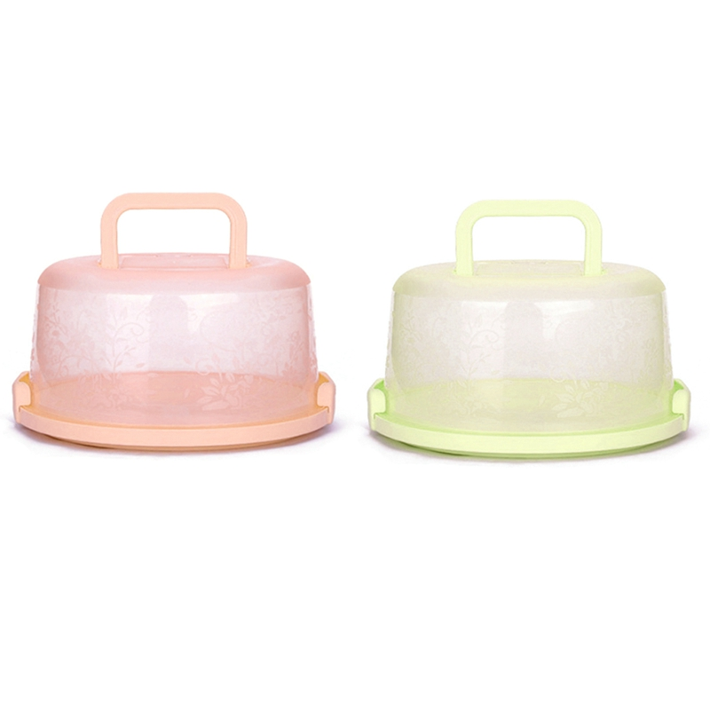 2 Pcs Plastic Round Cake Box Pastry Storage Boxes Dessert Container Cover Case for Birthday Wedding Party Kitchen Yellow & Pink|Cake Molds| |  - title=
