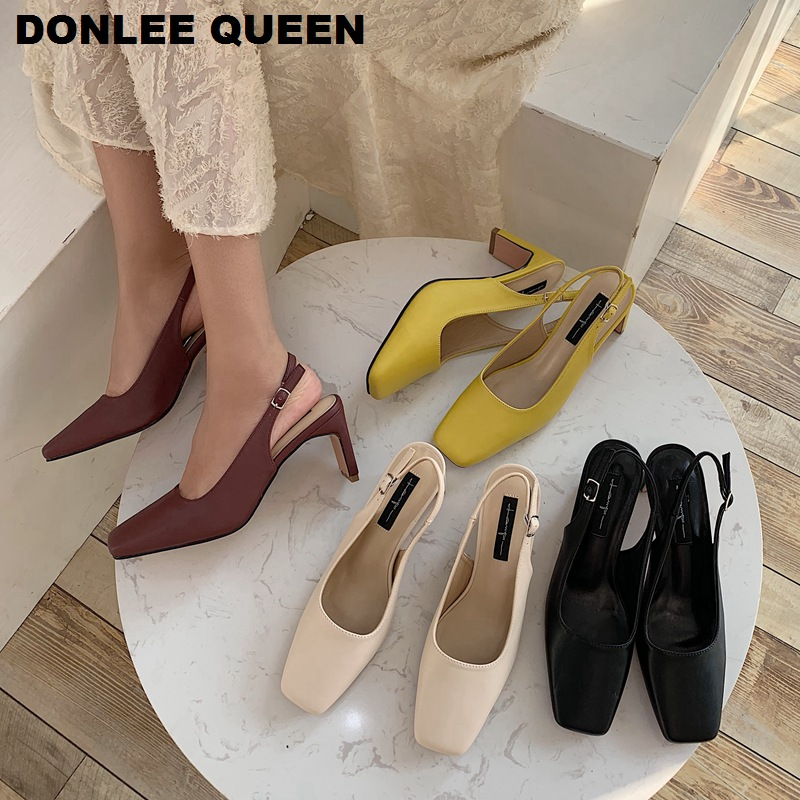 Fashion Square High Heels Sandals Female Shoes Woman 2020 Straps Slingback Square Toe Summer Women Sandal Wedding Shoe Chaussure