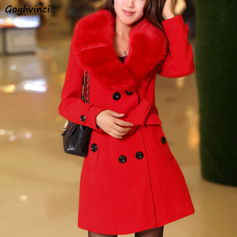Winter Coat Women Solid Double Breasted Plus Size Womens Pink Korean Fashion Clothes Ladies Coats Warm Elegant High Quality