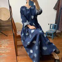 Real-time e artística das mulheres do vestido retro, impresso algodão e linho vestido, lace-up, fina e vestido longo, saia longa, vestido longo