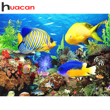 Huacan Full Square/Round Diamond Painting Fish Art 5D DIY Diamonds Embroidery Ocean Kits Decorations Home
