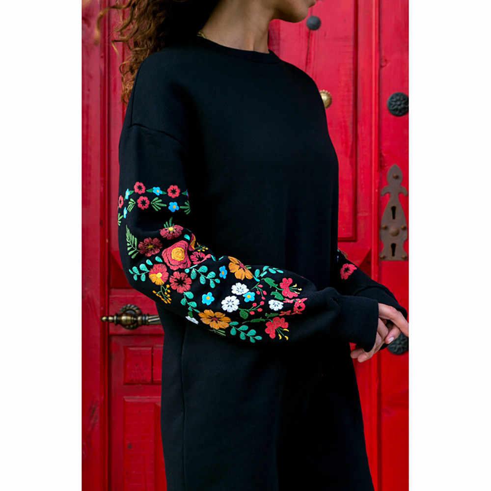 ผู้หญิงดอกไม้พิมพ์เสื้อแขนยาว O-Neck หลวมบางอบอุ่นเซ็กซี่ Dresses Multicolor สีดำ mujer ฤดูใบไม้ร่วง vestido 2019 #111