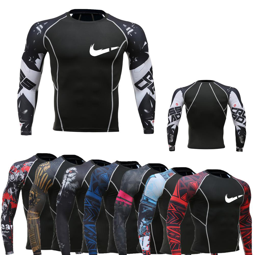 Brand Sportswear Muscle Man Long Sleeve + Short-sleeved T-shirt Compression Tight T-shirt Printing MMA Rashguard Fitness T-shirt