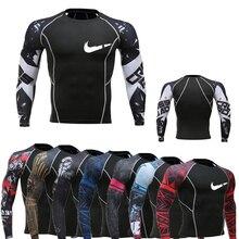 Brand sportswear muscle man long sleeve + short-sleeved T-shirt compression tight printing MMA Rashguard fitness