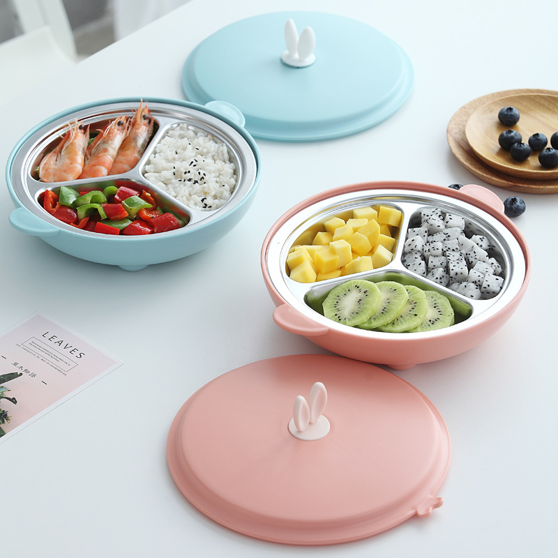 Baby Plate Cartoon Seperated Students CHILDREN'S Tableware CHILDREN'S Food Supplement Training Rice Bowl Snack Plate
