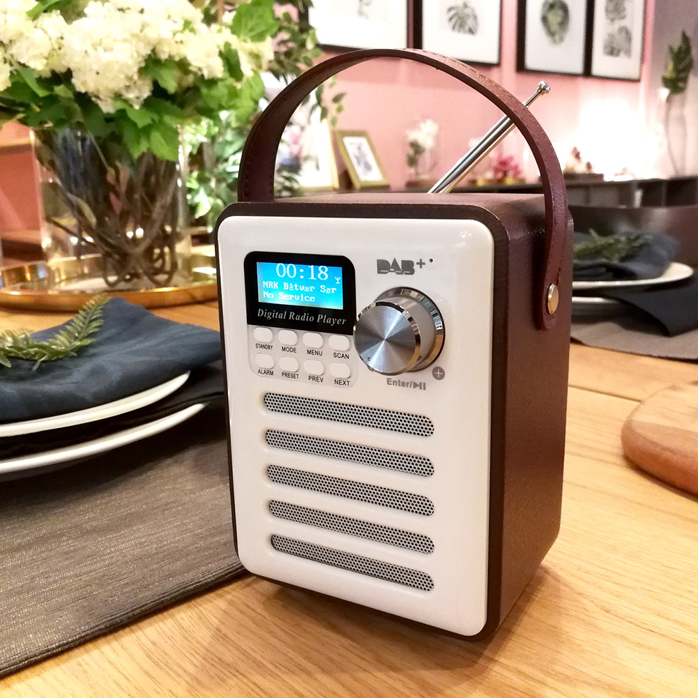 DAB Portable Rechargeable Wood MP3 Handsfree FM Receiver Audio Digital <font><b>Radio</b></font> Bluetooth Stereo Record USB LCD Display Player image