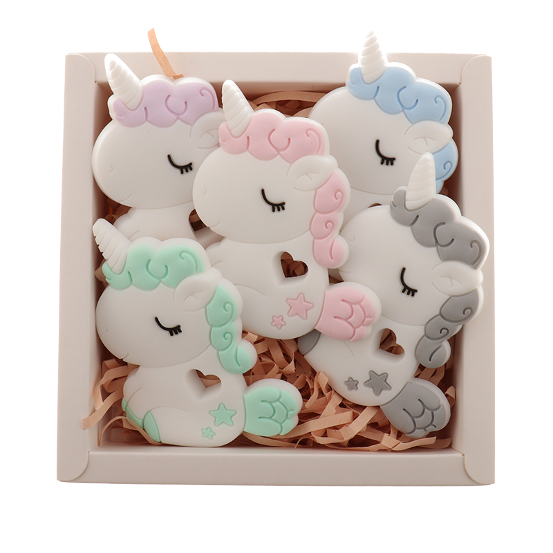 QHBC 10pcs Silicone Unicorn Baby Teether Rodent BPA Free Newborn Teething Necklace Pendant Infant Chews Nurse Gift Toys Horse