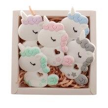 QHBC 10pcs סיליקון Unicorn תינוק Teether מכרסמים BPA משלוח יילוד בקיעת שיניים שרשרת תליון תינוקות לועס אחות מתנת צעצועי סוס