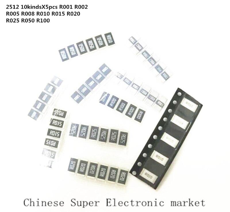 50 шт. 2512 SMD комплект образцов резистора, 10 kindsX5pcs = 50 шт. R001 R002 R005 R008 R010 R015 R020 R025 R050 R100
