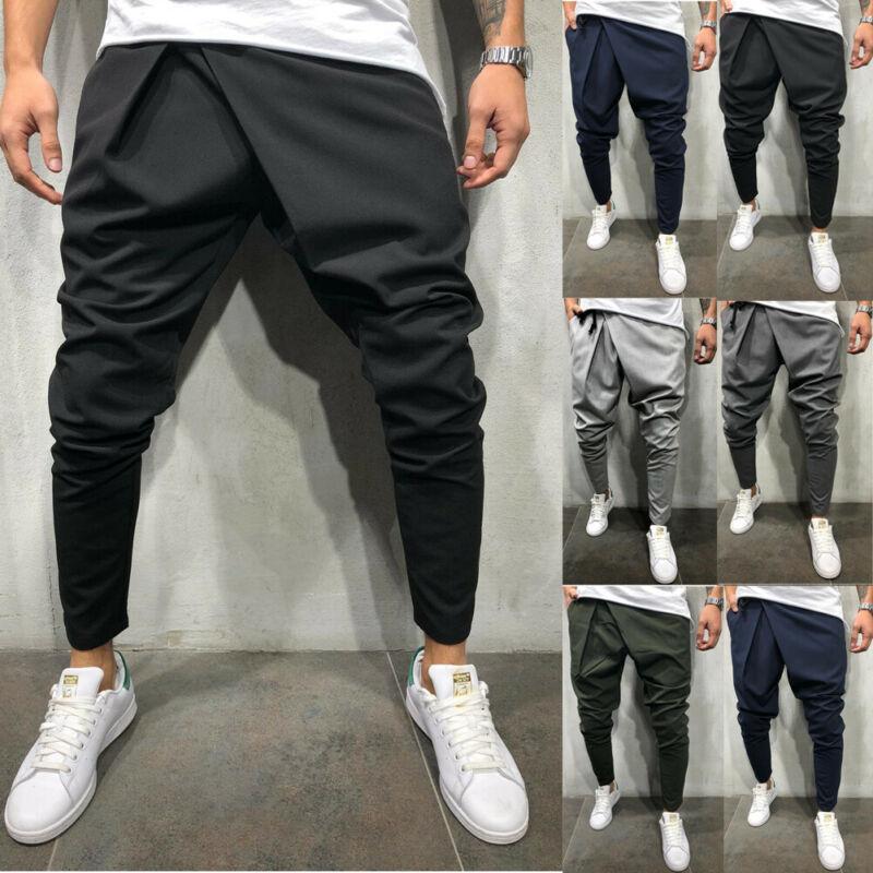Pantalon de survêtement pour hommes, nouveau Style de mode, uni, Slim, manchette, décontracté, uni, 2020 3