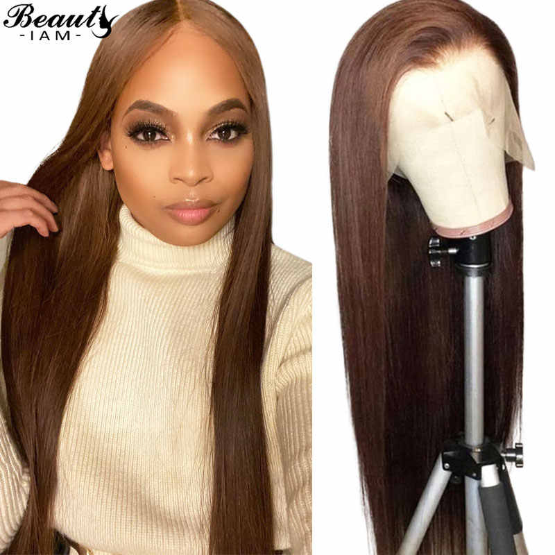 Lace Front Human Hair Wigs 180 Density Virgin Brazilian Hair Wigs Pre Plucked Lace Wig Straight Brown 13X6 Brown Lace Front wig