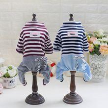 S~XXL Fashion Puppy Dog Clothes Pet Striped Clothing Jumpsuit Four Leg Pants Vest T Shirts Z