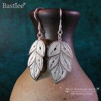Big Leaf 999 Sterling Silver Earrings Drop Women Ethnic Earings Fashion Jewelry Female Handmade Jewellery Chinese Minority