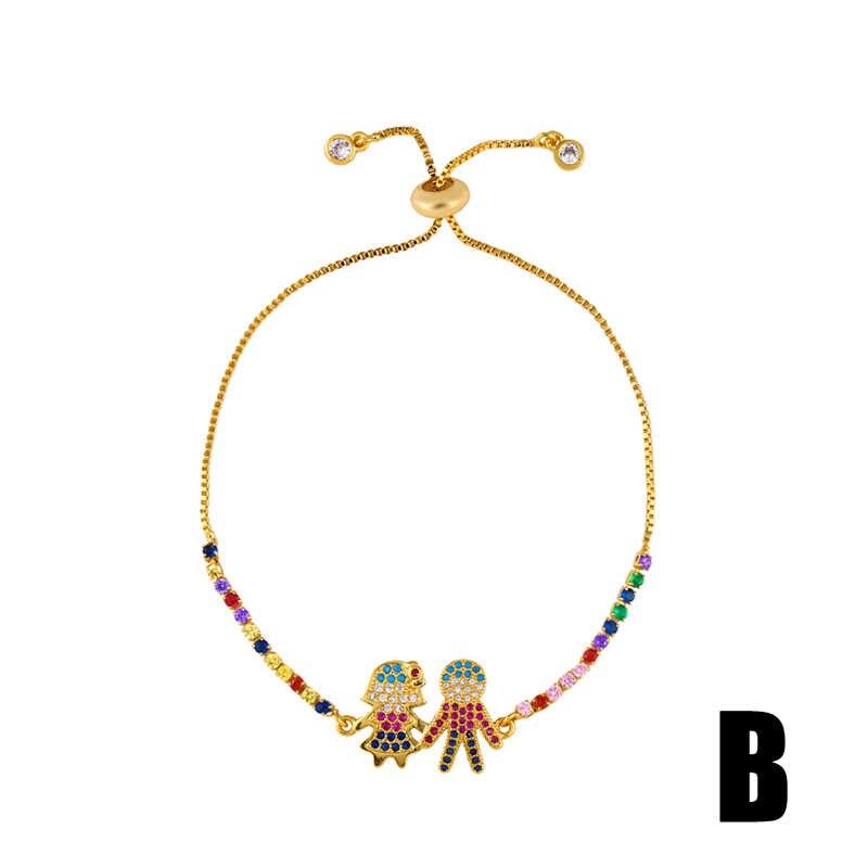 FLOLA CZ Rainbow bransoletka z krzyżem kobieta Rainbow kryształ chłopiec dziewczyna serce Charm bransoletka 24k złota biżuteria pulseras mujer moda brtb78