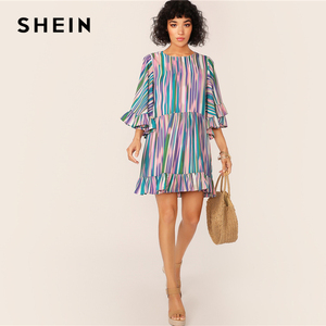 Image 5 - SHEIN Exaggerate Bell Sleeve Ruffle Hem Colorful Striped Dress Women Summer Autumn O Neck High Waist Boho Cute Short Dresses