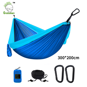 Image 2 - 300*200cm przenośny Camping hamak spadochronowy Survival zewnętrzne meble ogrodowe wypoczynek spanie Hamaca Travel podwójne zawieszenie łóżko