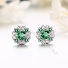 Halo Stud white gold color Plated cubic zircon earrings Hypoallergenic round CZ Dia-mond rainbow stud